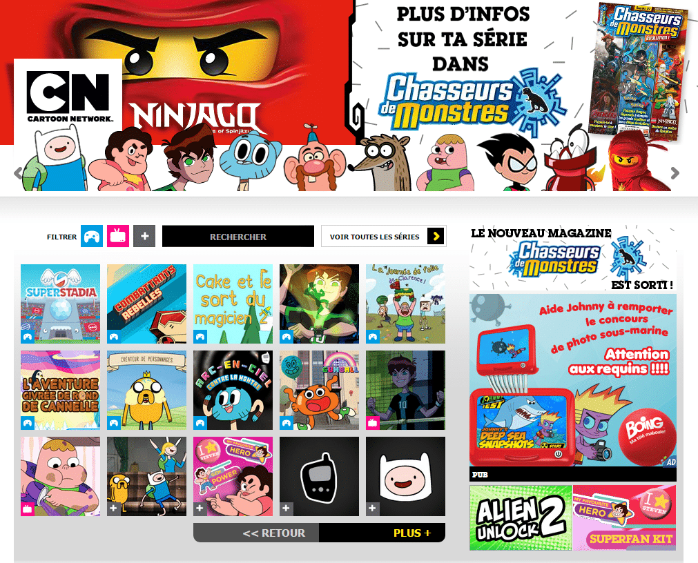 Cartoon Network France Website Layout
