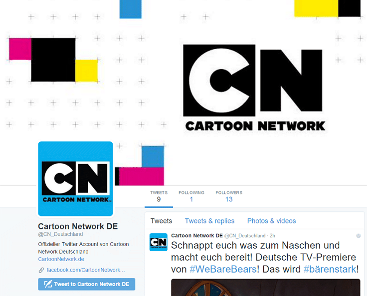 Cartoon Network Germany's New Twitter Account
