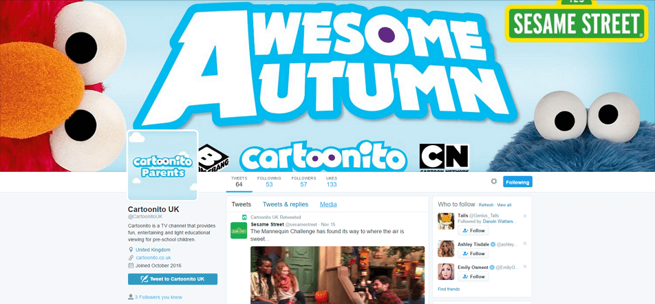Cartoonito UK's New Twitter Account