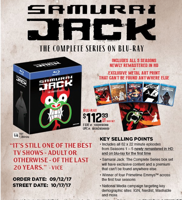 Samurai Jack The Complete Series Blu-ray Collection To Be Released 17th October In The United States