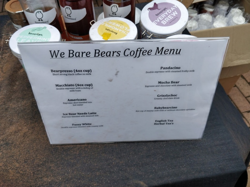 We Bare Bears Coffee Menu