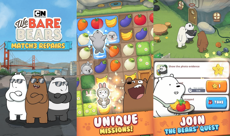 Cartoon Network Games' And South Korean Game Developer SundayToz's We Bare Bears Match3 Repairs Game Is Now Available Worldwide